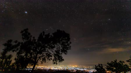 starry sky : Timelapse of moving star trails in night sky over the city Stock Footage