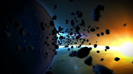 bolygók : flight in space through a cloud of asteroids Stock mozgókép