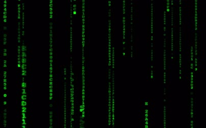 šifrování : Digital binary data, streaming code background. Matrix background. Programming  Coding  Hacker concept. Cyberspace with green digital falling lines, abstract background, binary chain. Crypto space.