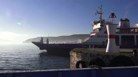 ottoman : Eceabat, Turkey - January 6, 2018: Ferry across the Dardanelles Strait