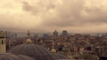ottoman : Dramatic cloudy sky over old Istanbul, Turkey Stock Footage