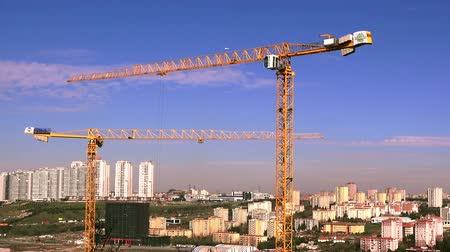 crane fly : ISTANBUL, TURKEY - MARCH 11, 2018: View of the construction site, timelapse Stock Footage