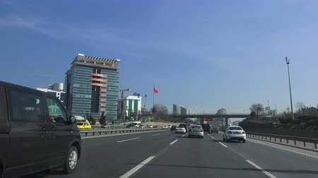isztambul : ISTANBUL, TURKEY - FEBRUARY 18, 2018: Modern buildings of Istanbul, view from the car