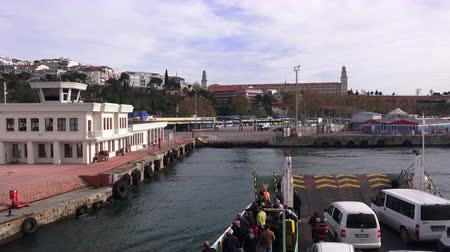 ferry terminal : TURKEY, ISTANBUL - DECEMBER 2, 2017: Ferry boats on the pier Harem on the Bosphorus
