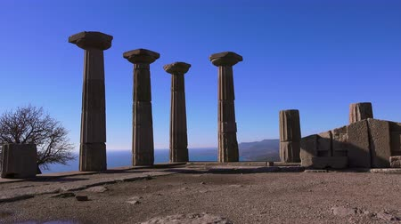 Эгейский : Assos (Behramkale), ruins of ancient acropolis, Turkey Стоковые видеозаписи