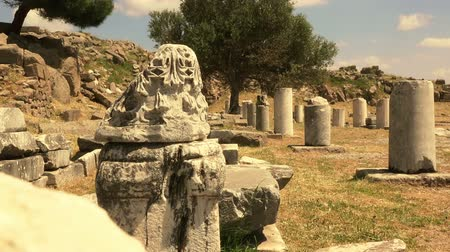 pergamon : Pergamon, ruins of ancient city in vintage style, Turkey, Bergama, Full HD video, 1080p