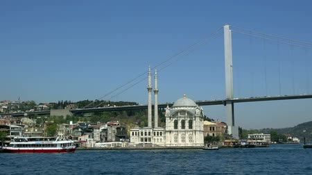 ottoman : Ortakoy Mosque near the Bosphorus Bridge, sunny day,  Turkey, Istanbul Stock Footage