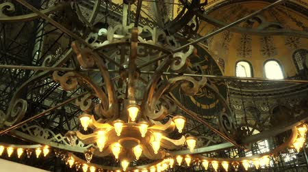 ornaments : ISTANBUL, TURKEY - OCTOBER 6, 2017: Hagia Sophia (Saint Sophia), first christian cathedral, then muslim mosque, and now a museum, interior video