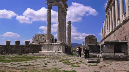 pergamon : Bergama, Turkey - April 21, 2018: Tourists visit the ruins of the ancient city of Pergamon, the famous museum