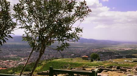 pergamon : View of the city of Bergama from the ancient acropolis, Turkey Stock Footage