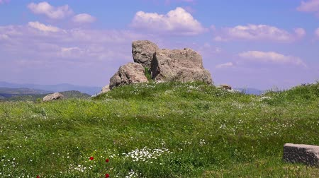 rock wall : Pergamon. Beautiful colorful view of the ruins of the ancient city in spring, Bergama, Turkey