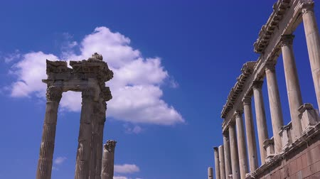 Эгейский : Pergamon, Trajan Temple on the blue sky and white clouds background, closeup. Turkey, Bergama