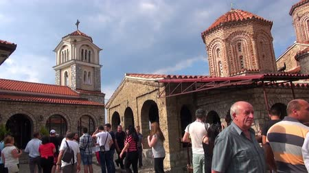 низкий : Monastery of Saint Naum, 03.07.2015, Macedonia, Ohrid Стоковые видеозаписи