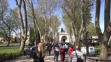 ottoman : Tourists visit the Topkapi Palace, which was the main residence of the Ottoman Sultans  for approximately 400 years.  30.04.2017, Turkey, Istanbul Stock Footage