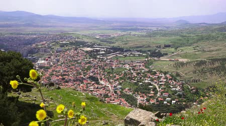 pergamon : Panoramic view of Bergama town from the ancient acropolis of Pergamon museum, Turkey