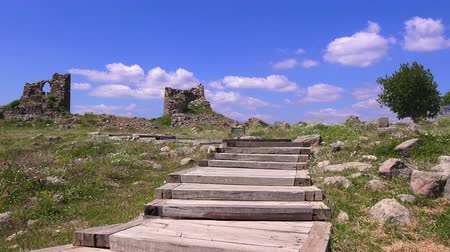 rock wall : Ruins of Pergamum of ancieny city, beautiful view in spring, Bergama, Turkey