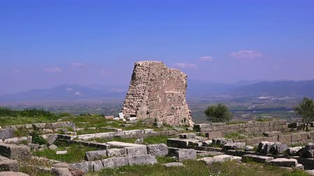 rock wall : Ruins of Pergamum ancieny city, beautiful view in spring, Bergama, Turkey