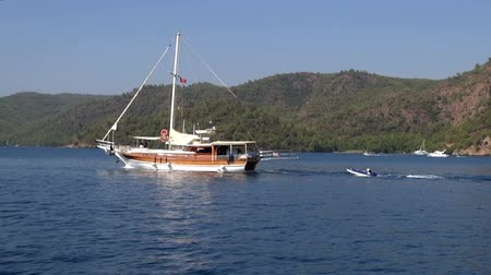 fethiye : Sailing yacht floats on the sea, 14.09.2016, Turkey, Marmaris