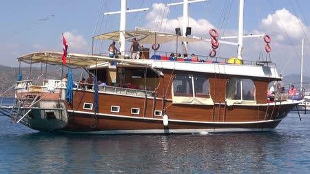 fethiye : Sightseeing tour boat with tourists on the Aegean Sea, Marmaris, on October 5, 2014