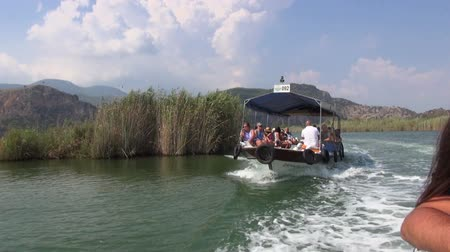 fethiye : Sightseeing tour boat on the lake Dalyan, 13.09.2016, Turkey, Dalyan Stock Footage