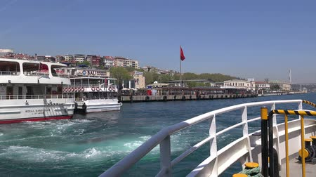 Cruise boat dock in the Besiktas area in Istanbul, view from the ship,  29.04.2017, Turkey, Istanbul