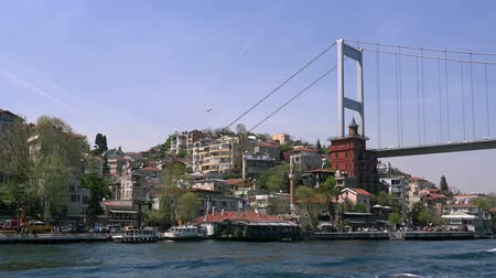 The First Bosporus Bridge, sunny day, 29.04.2017, Turkey, Istanbul Stock mozgókép