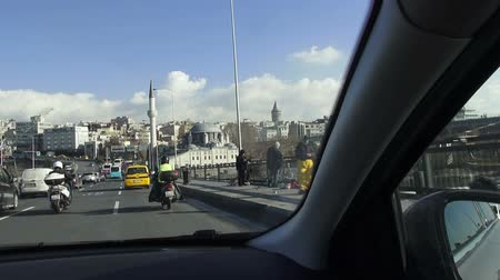 boynuzları : Bridge over the Golden Horn, 03.12.2016, Turkey, Istanbul Stok Video