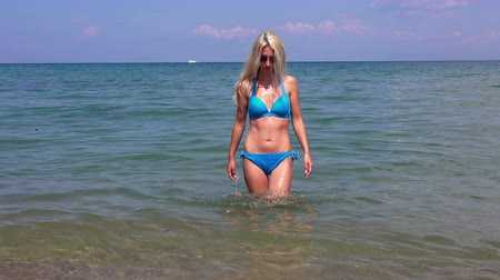 úmido : Beautiful blonde girl with long hair in a bikini against the sea