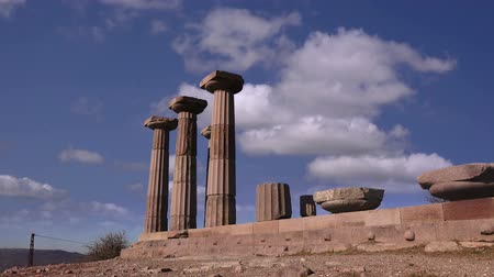 arkeolojik : Assos (Behramkale) museum, the ruins of an ancient acropolis,  Turkey Stok Video