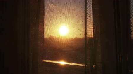 persiana : View of the sunset from the window  through transparent curtain