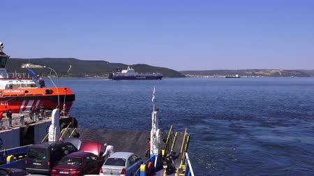 turco : Canakkale, Turkey -April 22, 2018: Ferry across the Dardanelles Vídeos