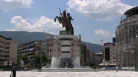 балканский : Monument of Alexander the Great on the square in the city center,  June 5, 2015, Macedonia, Skopje