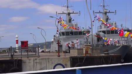 navy pier : Warships in the celebration of the Victory Day, 30.08.2014, Turkey, Canakkale
