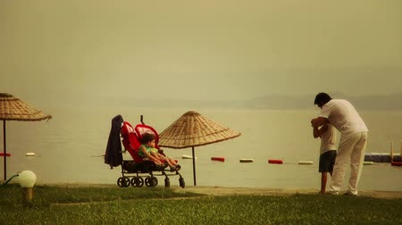 Father and children on the beach, 03.09.2014, Turkey, Edremit