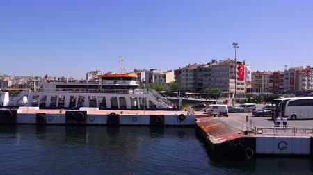 Canakkale, Turkey -April 22, 2018: Ferry across the Dardanelles Stock mozgókép