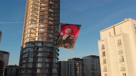Istanbul, Turkey - October 29, 2018: Portrait of the first Turkish President Mustafa Kemal Ataturk on a banner on a city street on a national holiday - Day of the Republic (Cumhuriyet Bayramı) Stock mozgókép