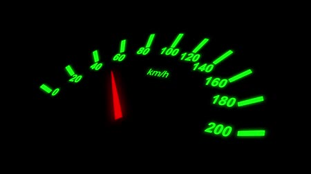 mph : Growing speedometer of a car over black background Stock Footage