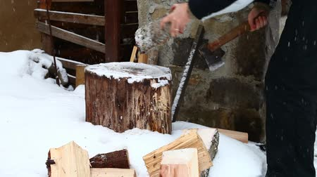wood : Man splitting wood wintertime