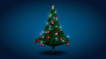 tebrik kartı : Rotating Christmas tree over blue background Stok Video