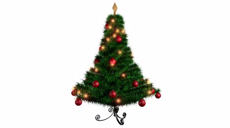 tempo de natal : Rotating Christmas tree over white background, alpha channel