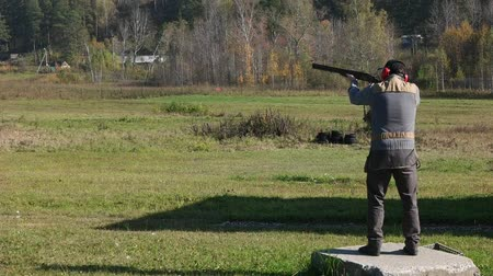 marksman : Shooter training stance during shots. Close. Stock Footage
