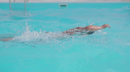 People, man in swimming pool, swimmer exercising, strong athlete, water sport