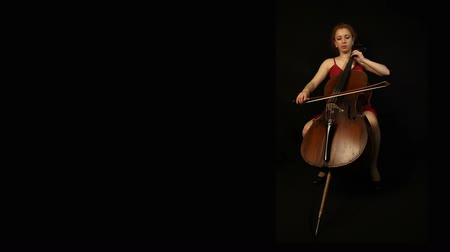 cselló : Girl with cello on black background