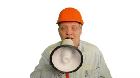 кричать : Foreman shouting into megaphone on white background