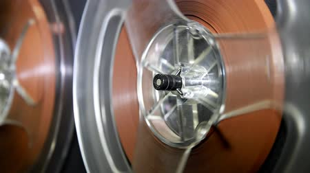 roll : Old retro Reel Audio Recorder reels spinning Stock Footage