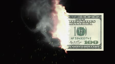 impostos : Combustion of 100 Dolar bill Stock Footage