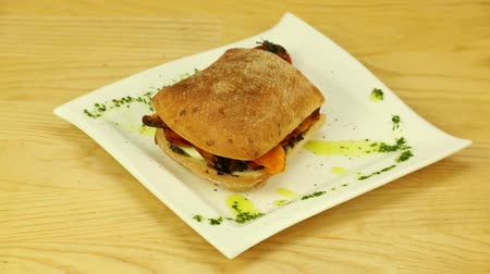 scones : Vegetarian sandwich with sweet potato and cheese Stock Footage