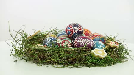 coloured background : Easter nest with painted eggs Stock Footage