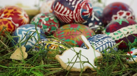 easter : Easter nest with painted eggs Stock Footage