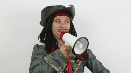 Pirate shouting in a megaphone